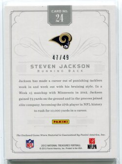 2012 Panini National Treasures Steven Jackson Colossal Jersey