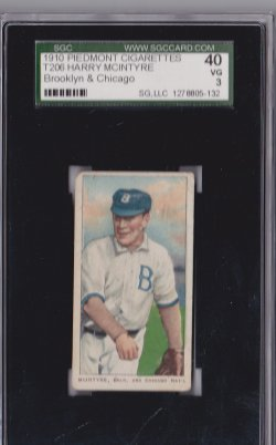 1909  T206 Piedmont 350 Harry McIntyre  Brooklyn & Chicago