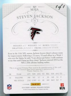 2014 Panini National Treasures Steven Jackson Black Plate Back
