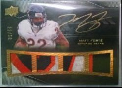 2009 Upper Deck Black Matt Forte quad patch auto gold