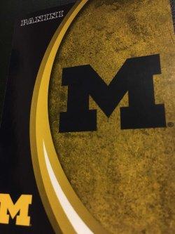 "2015 Panini Michigan Wolverines  #1 The MICHIGAN LOGO Block ""M"" Colored in Blue"