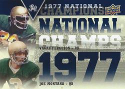 2013 Upper Deck Notre Dame National Champions Duos Joe Montana/Ferguson