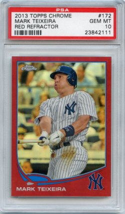 2013 Topps Chrome Mark Teixeira Refractor Red