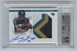 2017 Panini National Treasures Rookie Photo Shoot Material Signatures Holo Silver #10 Leonard Fournette/25 BGS 8.5