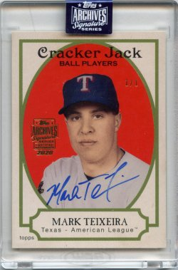 2020 Topps Archives Signatures Retired Mark Teixeira 2005 Topps Cracker Jack