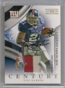 2009  Playoff National Treasure Tiki Barber Century Material Signature Prime