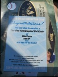 2019  Topps Tier one Mike piazza bat knob auto redemption