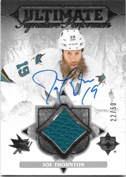 2016-17 Upper Deck Ultimate Collection Performers Material Autographs Joe Thornton
