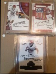 2017 Panini  Joe mixon 1/1 boomer sooner horns down inscription from immaculate national treasures and flawless