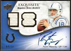 2008   Peyton Manning Upper Deck Exquisite Signature Jersey Auto #4/18