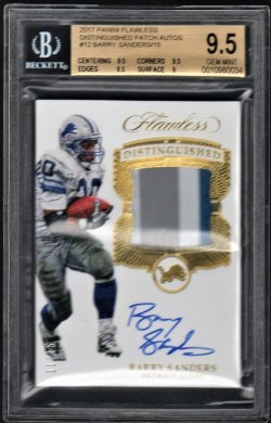 2017   Barry Sanders Flawless Distinguished Gold Parallel 3-CLR Patch Auto #11/15 BGS 9.5/10