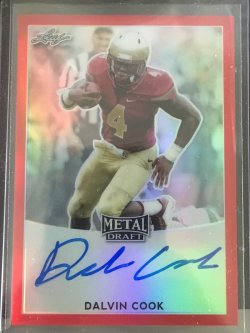2017 Leaf Metal Draft Dalvin Cook Red Refractor Auto