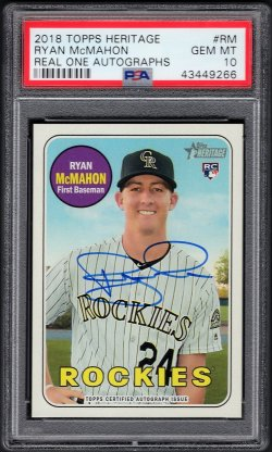 2018   Ryan McMahon Topps Heritage Real Ones Blue Ink Auto RC