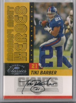 2007  Donruss Classic Tiki Barber Monday Night Heroes Jersey Numbers Autograph