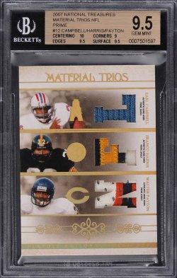 2007  National Treasures Material Trios NFL Earl Campbell / Franco Harris / Walter Payton