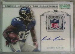 2012 Panini National Treasures Rueben Randle laundry tag signatures