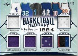 2020 Leaf In The Game Used Sports Basketball Redraft Relics Chris Webber / Jamal Mashburn / Anfernee Hardaway / Vin Baker / Sam Cassell / Allan Houston #ed 8/35