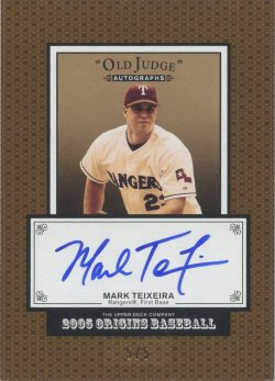 2005 Upper Deck Origins Mark Teixeira Old Judge Autograph Bronze Border