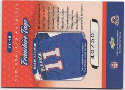 2001 Score Select Franchise Tags Patch Autographs BACK Drew Bledsoe
