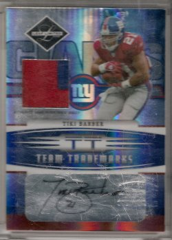2006 Leaf Limited Tiki Barber Team Trademarks Autograph Materials Prime