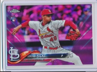 Jordan Hicks 2018 Topps Chrome Update Pink Refractor RD RC