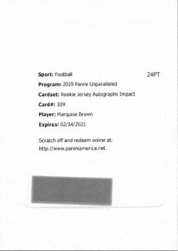 Marquise Brown 2019 Panini Unparalleled Rookie Jersey Autographs Impact Redemption