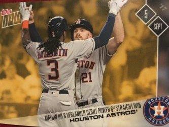 2017 Topps  NOW   9/5/17  VERLANDER DEBUT & MAYBIN HR PWB-5 1/122 Houston Astros