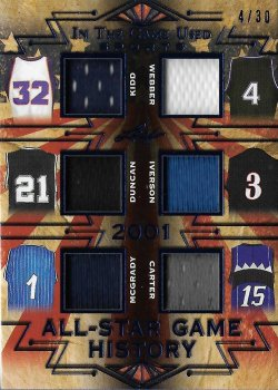 2019 Leaf In The Game Used Sports All-Star Game History 6 Relics Kidd / Webber / Duncan / Iverson / McGrady / Carter #ed 4/30