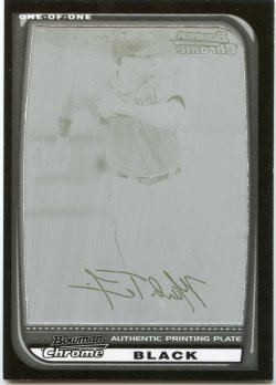 2008 Bowman Chrome Mark Teixeira Printing Plate Black