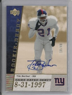2006 Upper Deck Rookie Debut Tiki Barber Game Dated Debut Autograph