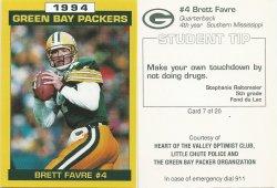 1994  Packers Police Little Chute #7 Brett Favre