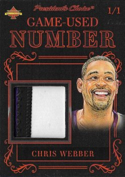2019  Presidents Choice Solitaire Game-Used Number Red Chris Webber #ed 1/1