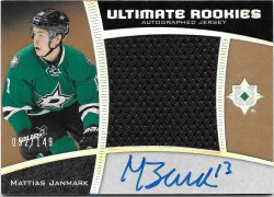 2015-16 Upper Deck Ultimate Collection Rookie Autographed Jersey Mattias Janmark