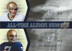 2013 Upper Deck Notre Dame All Time Alumni Duos Joe Montana/Joe Theismann