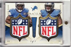 2014 Immaculate Collection Teammates NFL Shields #46 Eric Ebron/Reggie Bush/1 of 1 (DONT HAVE)