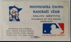 Business Card Calvin Griffith