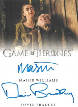 2020  Rittenhouse Game of Thrones Season 8 Dual Autographs Maisie Williams / David Bradley