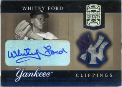 2005 Donruss Greats Whitey Ford Yankee Clippings Relic