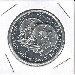 1967  First Season Jax Doubloon Coin New Orleans Saints vs Dallas Cowboys