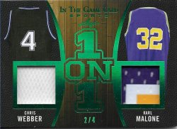 2020 Leaf In The Game Used Sports One on One Relics Emerald Chris Webber / Karl Malone #ed 2/4