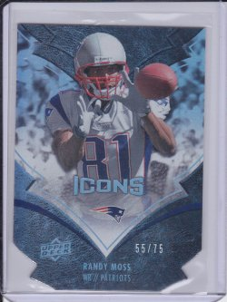 Randy Moss 2008 UD Icons Gold Die Cut /75