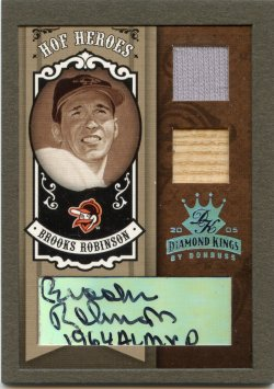 2005 Donruss Diamond Kings Brooks Robinson HOF Heroes Signature Framed Materials Platinum B&W