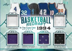 2020 Leaf In The Game Used Sports Basketball Redraft Relics Platinum Blue Chris Webber / Jamal Mashburn / Anfernee Hardaway / Vin Baker / Sam Cassell / Allan Houston #ed 2/7