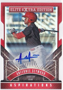 2015 Anfernee Seymour Elite Extra Edition Aspirations Die-Cut Auto RC /100  Marlins A8651