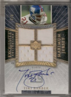 2006 Upper Deck Exquisite Collection Tiki Barber Maximum Jersey Signature