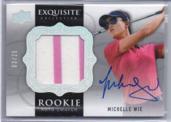 2014 Upper Deck Exquisite Michelle Wie Rookie Auto Swatch Rainbow
