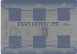 2019 Leaf In The Game Used Sports Draft History 6 Relics Printing Plate Black Bledsoe / Strahan / Webber / Hardaway / Rodriguez / Rolen #ed 1/1