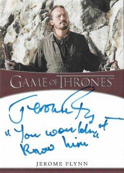 2020  Rittenhouse Game of Thrones Season 8 Inscription Autographs Jerome Flynn as Bronn -