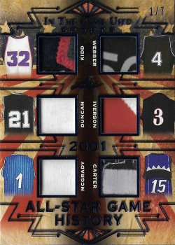 2019 Leaf In The Game Used Sports All-Star Game History 6 Relics Prime Navy Kidd / Webber / Duncan / Iverson / McGrady / Carter #ed 1/7