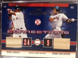 2003 Playoff presige 2003 Playoff Prestige Connections Materials #10 Manny Ramirez Bat/Nomar Garciaparra Bat